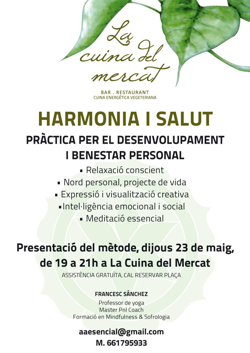 Cartell Harmonia i Salut. Cuina sana, energetica a Calaf